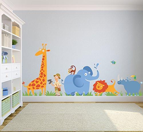 Wild Safari Wall Decoration Scene with African Animals Giraffe, Lion, Elephant, Rhino, Monkey, Birdie, Toucan Play Room Decals-WEDSET10007-B by Go Go Dragon