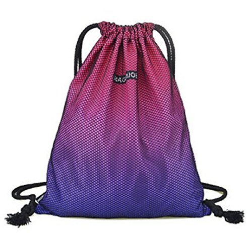 FUNCYboo Drawstring Bag, Waterproof Sport Foldable Sack Drawstring Backpack Folding Backpack Storage Unisex Gym Sack Outside Waterproof Beach Swim by FUNCYboo