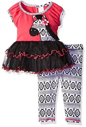 Youngland Baby Girls' Zebra Tutu Tunic and Legging, Pink/Black/White, 18 Months