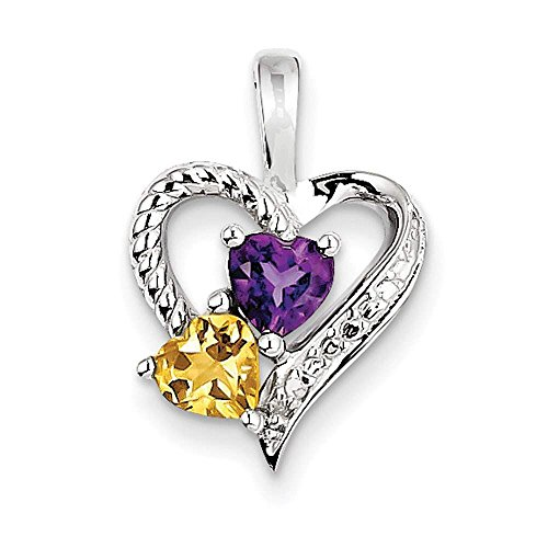 [925 Sterling Silver Rhodium-plated Amethyst, Citrine & Diamond Heart Pendant] (Citrine Amethyst Diamond Heart)