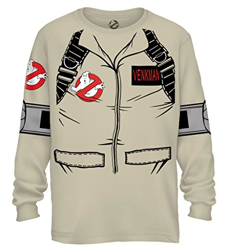 T Ghostbusters Shirt (Ghostbuster VENKMAN LONG SLEEVE Costume T-Shirt With Back Print (Adult)