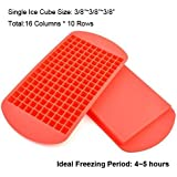 Mini Ice Cubes, Wootop 100% Food Grade Silicone Ice Cube Trays Candy Molds, 3/8'' 160 Frozen Mini Cubes Keep Cool for Hours (Red, Pack of 2)