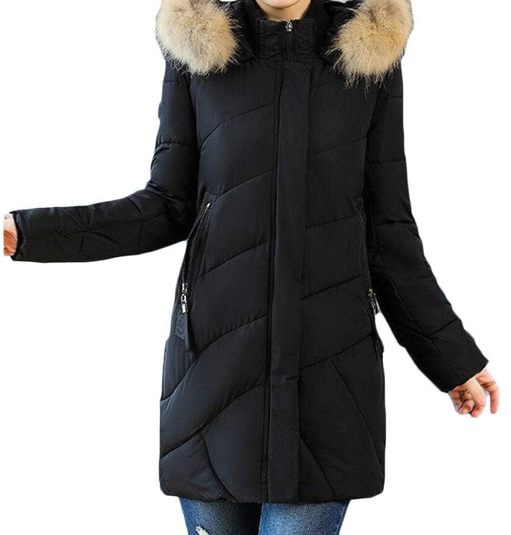 Black Qiangjinjiu Women Faux Fur Collar Zip Up Quilted Jacket Plus Size Coat Outerwear