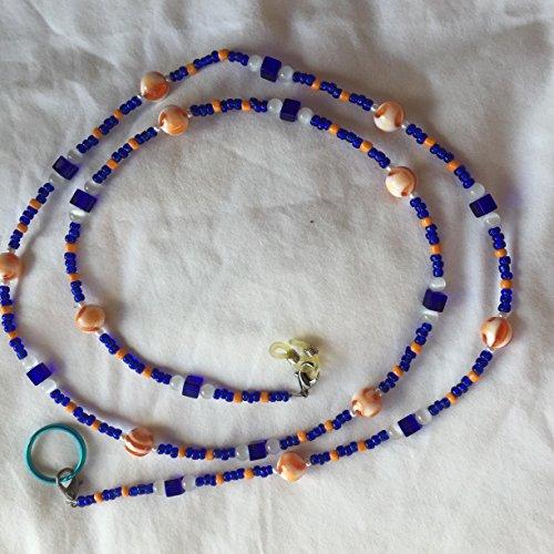 Handcrafted Beaded Lanyards (Sapphire Blue and Orange Beaded 40 Inch Eyeglass Employee Badge Lanyard)