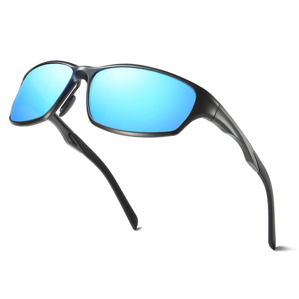 NUOLAN Polarized Sports Gafas de sol con montura met/álica Al-Mg para hombres y mujeres