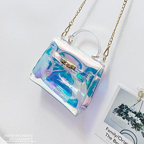 set-sail Ladies Fashion Transparent Laser Tasche Schulter Umhängetasche Schultertasche Transparente Farbe