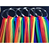 """Set of 6 Hoops with 24"""" Chiffon Scarf Streamers in rainbow with storage bag, Creative Movement Prop for dancing, preschool, music education. Direct from USA manufacturer Bear Paw Creek"""