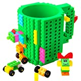 BOMENNE Build-on Brick Mug,Novelty Creative Compatible with LEGO DIY building Blocks Coffee Cup with bricks,is unique Christmas gift Idea (Green)