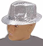 Forum Novelties, Costume Sequin Fedora Hat, Silver, One Size