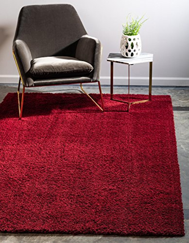 Regal Small Rug - Unique Loom Serenity Solid Shag Collection Super Soft Micro Polyester Red Area Rug (4' x 6')