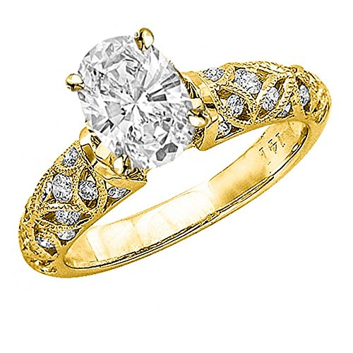 1.06 Ctw 14K Yellow Gold Vintage Channel Filigree Milgrain Oval Cut GIA Certified Diamond Engagement Ring (0.56 Ct E Color SI1 Clarity Center Stone) (Diamond Graded Oval Gia)