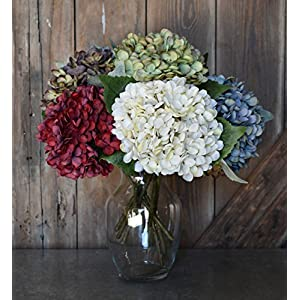 Artificial Silk Hydrangea Spray Pick Big Head Faux Bouquet - Flower Bright Petals Bush on Short Stem in Vibrant Colors, 13 Inches Blooming Florals for Home & Wedding Decor Embellishing 24
