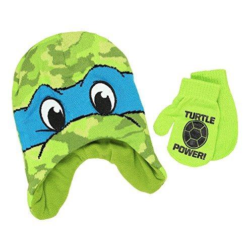 Teenage Mutant Ninja Turtles Boys Beanie Hat and Mittens Set (One Size, Blue) (Winter Hat Tmnt)