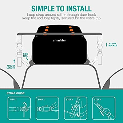 Smashier Car Rooftop Cargo Carrier Bag - 16 Cubic Ft Roof Bag, 100% Waterproof Military Grade Nylon Cordura Fabric, Heavy-Duty Zipper, Night Reflective Strip & Anti-Slip Mat Incl. for Safe Journey: Automotive