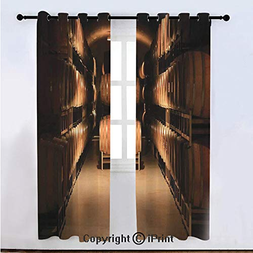 """Winery Decor Semi Sheer Voile Window Curtain With Drapes Grommet,Wine Barrel Stacked in Cellar Aged Old Fermenting Quality Container Storage Basement Image,for Bedroom,Living Room & Kids Room(108""""W x"""