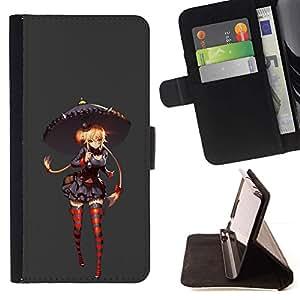 Momo Phone Case / Flip Funda de Cuero Case Cover - Chica Medias Paraguas Rojo Gris Anime - Samsung Galaxy S4 IV I9500