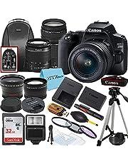 Canon EOS 250D / Rebel SL3 DSLR Camera with EF-S 18-55mm + EF 75-300mm Daul Lens + SanDisk 32GB Memory Card + Tripod + Case + Wideangle Lenses + ZeeTech Accessory Bundle (21pc Bundle)