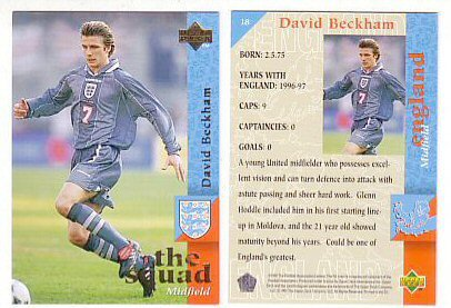 David Beckham GENUINE ROOKIE Soccer Card. From 1997. Rare! Don't Be Misled by Other Supposed Beckham Rookie ()