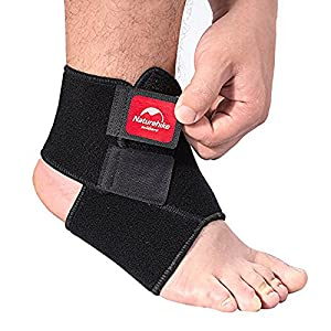 Ezyoutdoor Unisex Black Breathable Neoprene Ankle Support Elastic Ankle Foot Compression Wrap Strap Support Bandage Brace Protective Guard for Outdoor Sports Gym Volleyball Basketball (L)