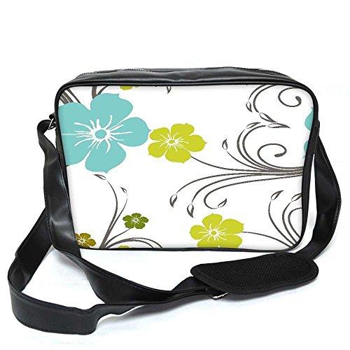 Snoogg blau und grün Floral Muster Leder Unisex Messenger Bag für College Schule täglichen Gebrauch Tasche Material PU ow0CtJD
