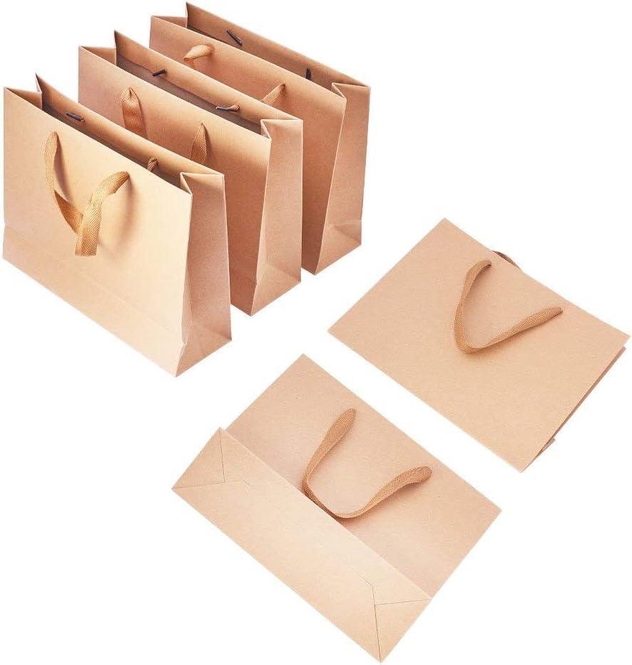 PandaHall Elite 10 pcs Bolsas de Papel con Cinta Lazo diseño, Bolsas de Regalo con Hilo de Nylon, 16.3 x 12.3 cm, Papel, Burlywood, 27x21x8cm