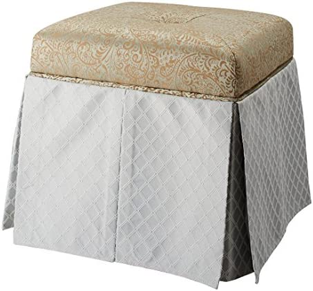 Jennifer Taylor Home Stacy Collection Modern Upholstered Hand Tufted Square Storage Vanity Footstool Bench