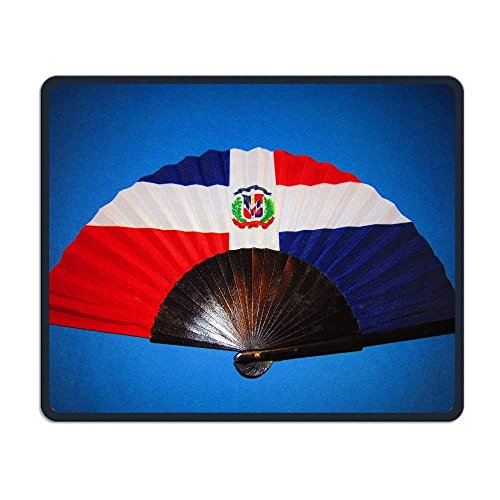 - Dominican Republic Flag Fan Non-Skid Personality Designs Gaming Mouse Pad Black Cloth Rectangle Mousepad Art Natural Rubber Mouse Mat with Stitched Edges