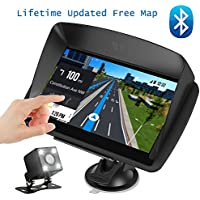 "Car GPS Navigation, 7"" Touch Screen + Rear View Camera, DONGKER Voice Prompt GPS Navigation for Car with Lifetime Maps and Traffic, Bluetooth, Multi-Media and FM"