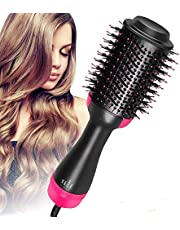 AU Plug Hot Air Brush,One Step Hair Dryer & Volumizer Hair Dryer & Volumizing Styler Comb 3-in-1 Negative Ion Straightening Brush Salon Hair Straightener Brush Curler for All Hair Types
