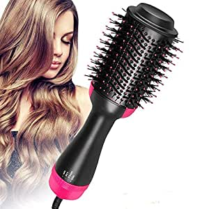 AU Plug Hot Air Brush,One Step Hair Dryer & Volumizer Hair Dryer & Volumizing Styler Comb 3-in-1 Negative Ion Straightening Brush Salon Hair Straightener Brush Curler for All Hair Types