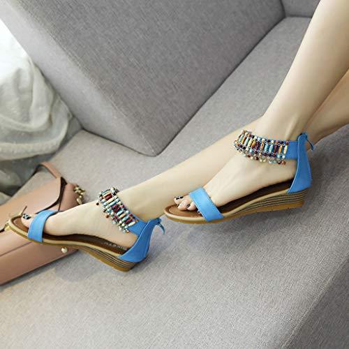Porlous Mujer Cuero Azul Vestir Sandalias De Liso UqRHzUFwr