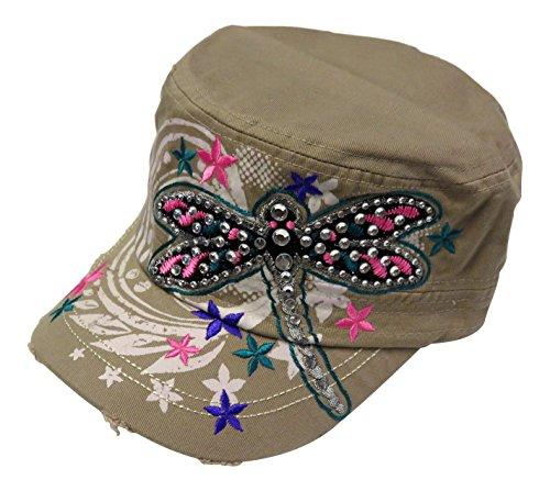(Rhinestone Dragonfly Vintage Style Cadet Cap Hat Western (Khaki))