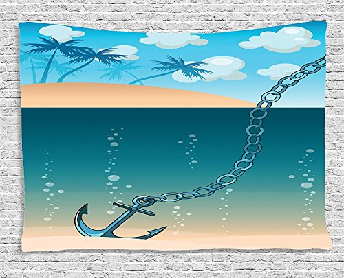 Blue Tropic Monogram - Supersoft Fleece Throw Blanket Anchor Collection Hawaiian Golden Beach Scenery with Palms and Ship Anchor in the Water Near Tropic Island Blue Cream