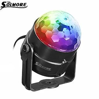 SOLMORE Mini bola mágica lámpara etapa Disco Club DJ luz activado por voz Crystal KTV bar colorida