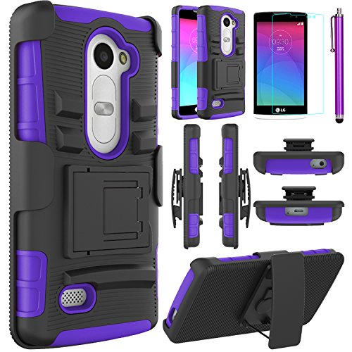 LG Leon Case, LG Power Case, LG Destiny Case,EC™ Hybrid Dual Layer Combo Armor Protective Case Cover with Kickstand and Locking Belt Swivel Clip for LG Tribute 2/ LG Leon LTE C40