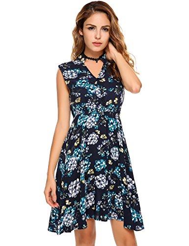 Swirl Lace Mini Dress - Zeagoo Women's Floral Printed Half Placket Summer Above Knee Sleeveless Mini Dresses (Small, Navy Blue)