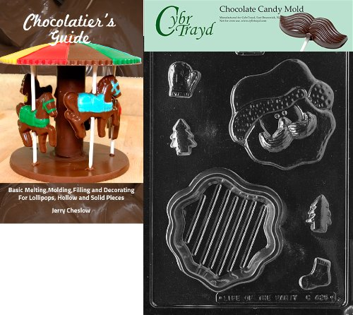 (Cybrtrayd 'Santa Face Pour' Christmas Chocolate Candy Mold with Chocolatier's Guide)