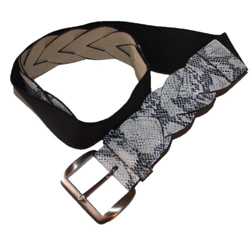 (Style & Co. Women's Stretch Cinch Belt With Faux Leather Snakeskin Trim M/L)