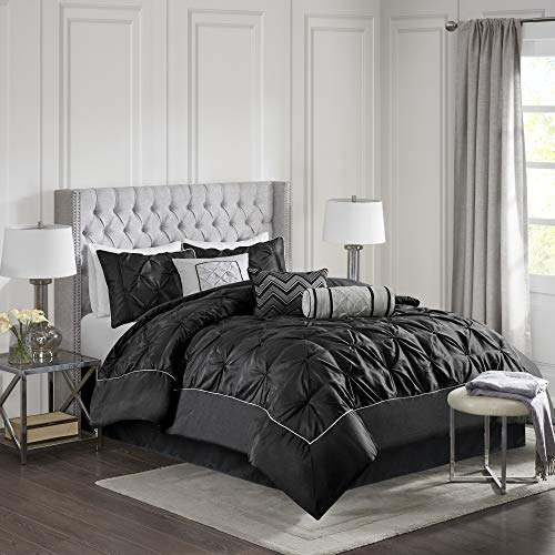 Madison Park Laurel Queen Size Bed Comforter Set Bed In A Bag - Black , Wrinkle Tufted Pleated - 7 Pieces Bedding Sets - Faux Silk Bedroom Comforters (Black Tufted Bedding)