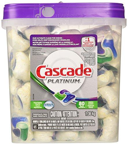 - Cascade Platinum Pacs Dishwasher Detergent, Fresh Scent (80 pacs)