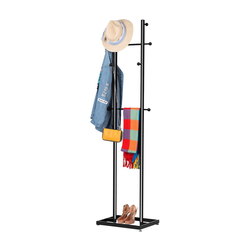 LANGRIA Tall Ladder Coat Hanger Hat Rack Minimalist All-Metal Freestanding Design Hall Tree Stand with 8 Hooks, 2 Horizontal Rods and Stable Leveling Base for Shoe Storage (16.9x13.6x70.9 inch, Black)