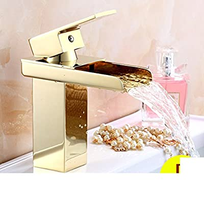 European-style light taps/ basin hot and cold temperature control/ pots copper/ bathroom vanity/ sink waterfall faucet-E