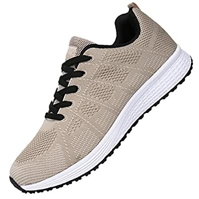JARLIF Men's Breathable Fashion Walking Sneakers Lightweight Athletic Tennis Running Shoes US6.5-11.5 Beige Size: 6.5