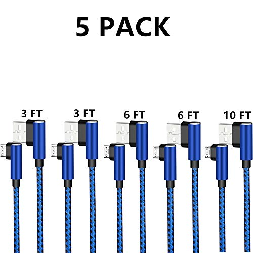 Micro USB 2.0 Android Cable, DECVO Right Angled Fast Charging Cord 90 Degree Reversible Micro Connector Braid Compatible with Samsung Galaxy, Nexus, LG, Motorola More -Blue (5 Pack 3 3 ()