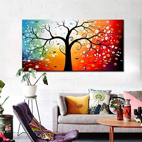 - FLY SPRAY 1-Piece 100% Hand Painted Oil Paintings Stretched Framed Ready Hang Flower Landscape Tree Flower Modern Abstract Painting Canvas Living Room Bedroom Office Wall Art Home Decoration