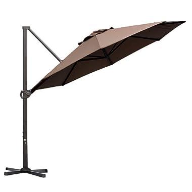 Abba Patio Offset Cantilever 11-Feet Outdoor Patio Hanging Umbrella with Cross Base, Cocoa