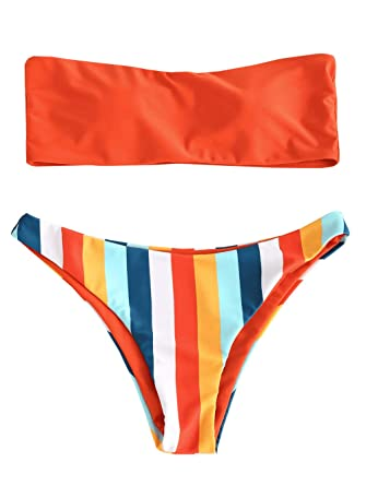 17b98067341 ZAFUL Women's Rainbow Striped Bandeau Bikini Set Strapless High Cut Two  Piece Swimsuit(Bright Orange
