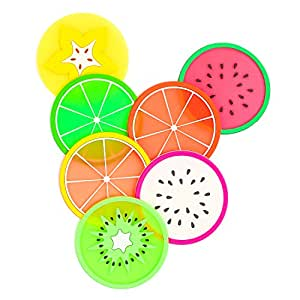 Non Slip Coasters for Drinks Cute Coasters Silicone Coasters Car Cup Holder Coaster, 7 Pack Fruit Coasters by BmStar