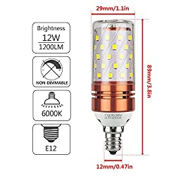 GEZEE E12 LED Corn Bulbs,12W LED Candelabra Light