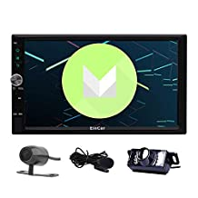 "Front/Backup Cam + Eincar 7"" inch Android 6.0 Marshmallow Double Din In Dash Radio Car Video Player with Bluetooth Wifi GPS Navigation System Support 3G/4G(optional) with External Microphone"